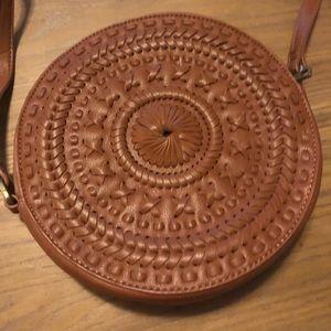 Handbags - Brown funky circular long bag - faux leather EUC